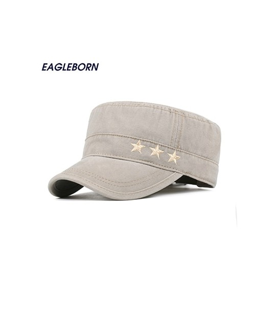 4e6b679c96d ... 2018 Brand New 100% Cotton Military Hats Flat Roof hats Men Exquisite  Embroidery Stars Vintage