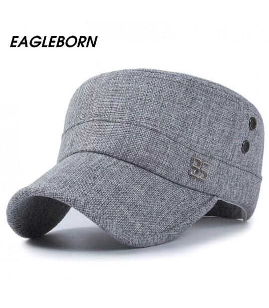 281a72e13cfd0 ... 2018 Classic Vintage Flat Top Mens Caps Army Hat Adjustable Fitted 95  Logo Linen Cap Spring ...