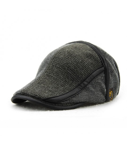 f88947bf835 ... TOHUIYAN Winter Elderly Men Hat Newsboy Cap Flat Beret Cap For Male  Thick Wool Beret Peaked ...