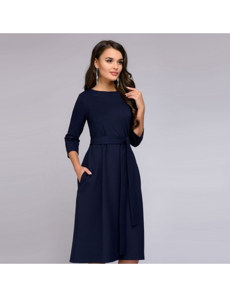 8066cde61e40 Women Vintage Sashes A-line Party Dress Long Sleeve Solid O-neck Midi Dress