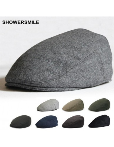 SHOWERSMILE Brand Beret Men Winter Flat Cap Wool Gray Black