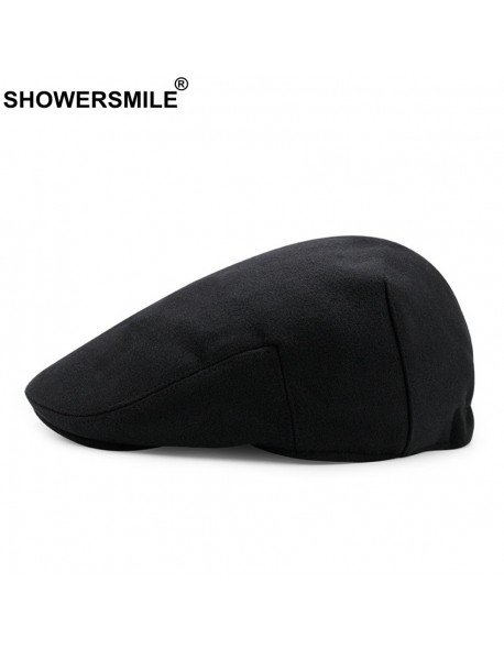 26a1234a4f3 SHOWERSMILE Unisex Navy Blue Beret Cap Wool Beret Hats Men Winter Thick  Warm Fitted Hats Male
