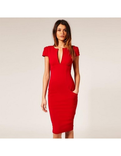 Womens Sexy Elegant Autumn Knee-Length Dress 2018 Vintage Tunic Slim Casual Party Fitted Sheath Pencil Bodycon Dress