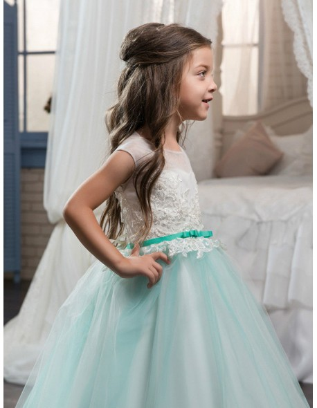 f2bbed5cb Vintage Ball Gown Flower Girl Dresses For Weddings Mint Toddler Pageant  Dresses First Communion Dresses Vestidos