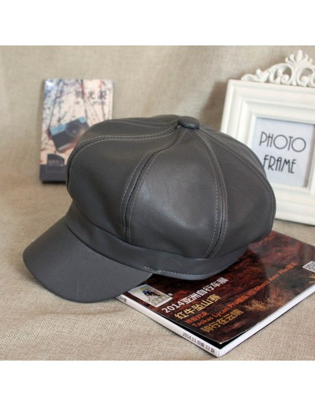 bef8ea57943b2 HT1368 Plain Leather Beret Caps Men Women Vintage Artist Painter Octagonal Newsboy  Caps Solid Autumn Winter
