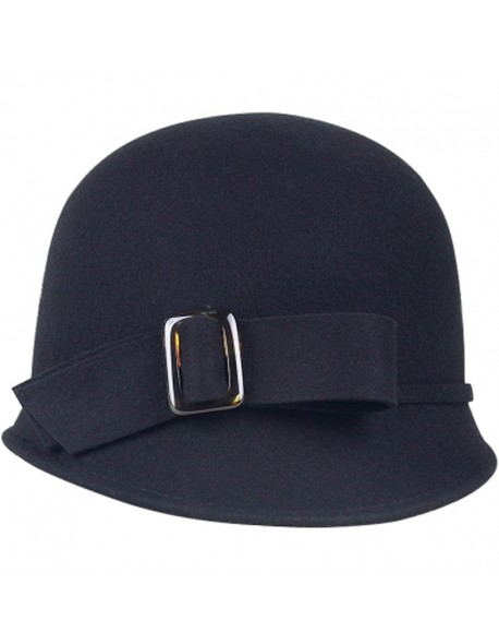a76711accf6 FS Vintage Black Wool Felt Cloche Hat With Bowknot Wide Brim Bowler Winter  Fedoras Ladies Yellow