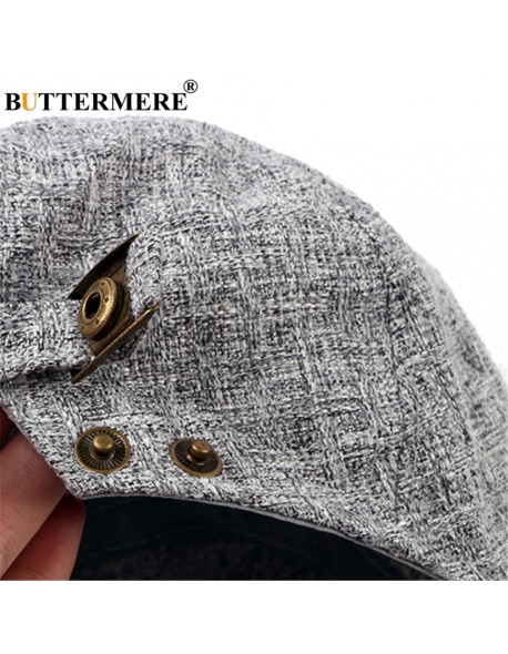 BUTTERMERE Mens Linen Flat Caps Adjustable Vintage Spring Summer Beret Hat  Male Casual Gatsby Style Gifts 0f22613349c