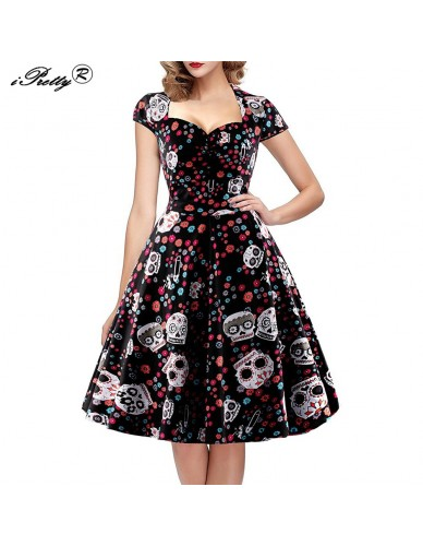 Elegant Skull Print Vintage Dress Women 50s 60s Square Collar Wrapped Chest A Line Swing Rockabilly Pin Up Dress Plus Size 4XL