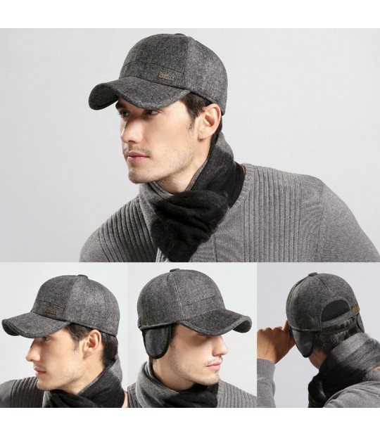 a02dd334fd6  AETRENDS  Wool Feel Baseball Cap Russia Winter Hats Warm with Fleece  inside and Earflaps ...