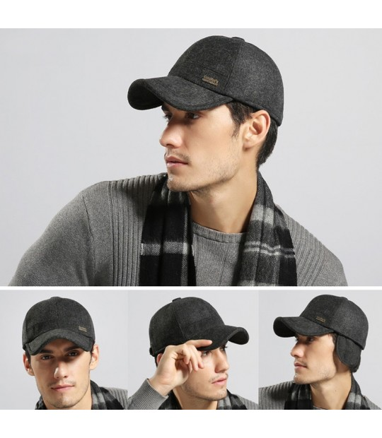 2452878fdeade  AETRENDS  Wool Feel Baseball Cap Russia Winter Hats Warm with Fleece  inside and Earflaps .