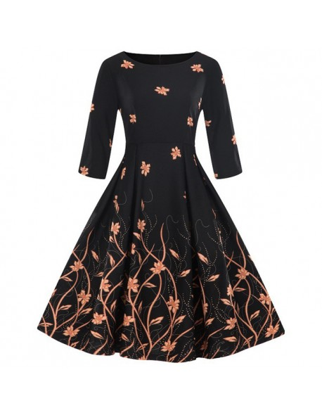 e90a220c3e4 Kenancy Floral Print Women Vintage Dress Rockabilly Swing Retro Dress Round  Neck Half Sleeves Party Vestidos