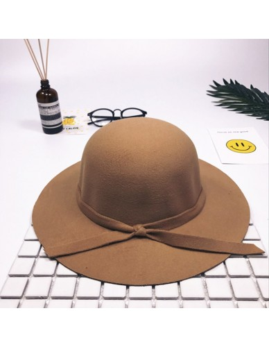 Vintage Wide Brim Fedora Hat Summer Autumn Mom Baby Cap Soft Wool Felt Bowknot Bowler Women Children Floppy Sun Beach Hat