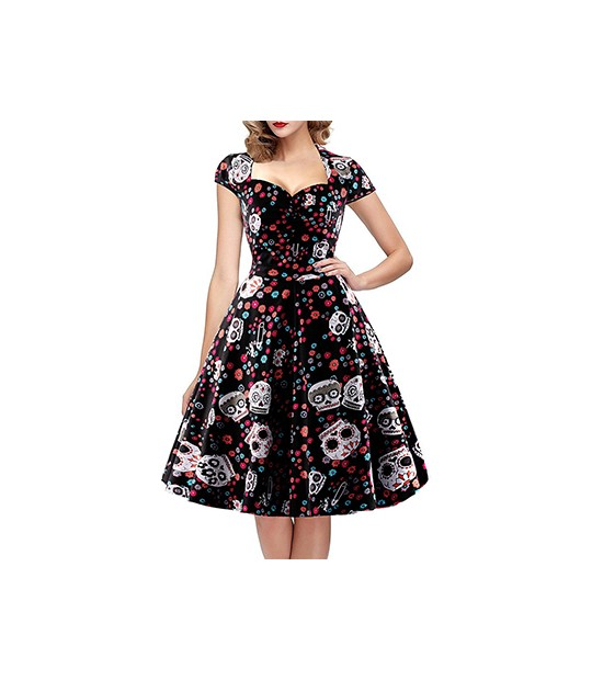 Elegant Skull Print Vintage Dress Women 50s 60s Square