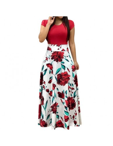 SHUJIN Women Elegant Floral Print Summer Patchwork Maxi Dress 2018 Casual Short Sleeve Vintage Boho Beach Long Dress Vestidos