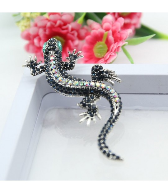 Brooches Fashion Style Rhao Vintage Blue Rhinestones Lizard Brooch Pins Green Eyes Gecko Animal Brooches Corsage For Women Men Kids Hats Collar Pins Jewelry & Accessories