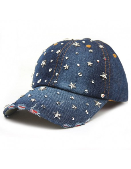 VONRU Hot Sale High Quality Denim Hats Fashion Leisure Woman Cap with Stars  Rhinestones Vintage Jean f09361cb55bb