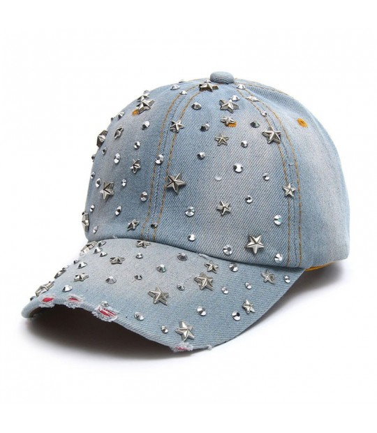 5d9cba62516 ... VONRU Hot Sale High Quality Denim Hats Fashion Leisure Woman Cap with Stars  Rhinestones Vintage Jean ...