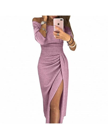 BEFORW Women Package Hips Sexy Dress Long Sleeve Off Shoulder Bodycon Dresses Vestido Vintage Party Maxi Dress Autumn Winter