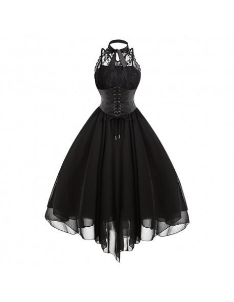 Gamiss 2017 Gothic Bow Party Dress Women Vintage Black Sleeveless Cross Back Lace Panel Corset Swing Dress Robe Vestidos Femme