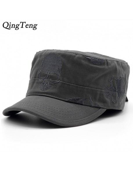 435086c4c8cd57 High Quality Men Vintage Flat Top Caps Embroidery Skull Military Hats  Luxury Casual Women Baseball Hat