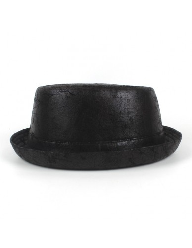 Vintage Leather pork pie Fedora Hat Men Boater Flat Top Hat For Gentleman Bowler Gambler Top Hat Big Size Dropshipping