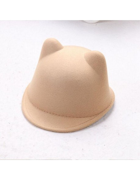7362aac1ca7fc LASPERAL Women Causal Solid Colour 2018 New Brand Winter Warm Round Bowler  Cap With Cat Ears