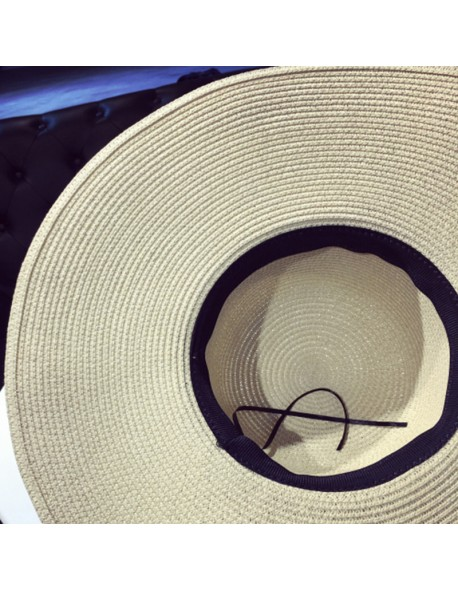 dc780e12 ... sun hats ladies fashion Casual Panama. BONJEAN woman summer hat vintage straw  hat With Ribbons Bow Wide Large Brim cap hat beach
