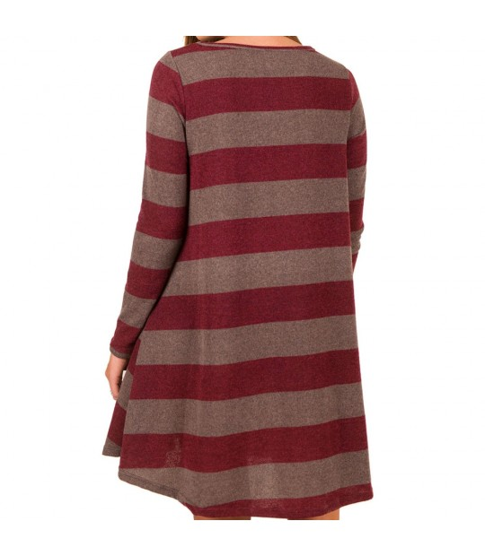 47ec7fed80d1 ... Autumn Winter Long Sleeve Mini Tunic Dress Christmas Clothes Women  Casual Loose Striped T-Shirt ...
