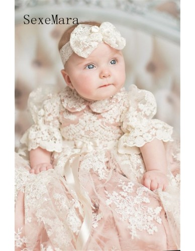 e6147417f New Baby Girls Christening Gown Baptism Dress Infant Toddler Long Ivory Lace  Applique Blush Heirloom Gown