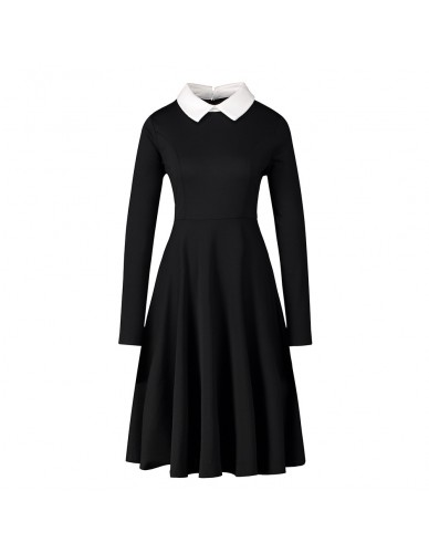 Autumn New Women'S Dress Elegant A-Line Dresses Women Peter Pan Collar Long Sleeve Black Vintage Dress