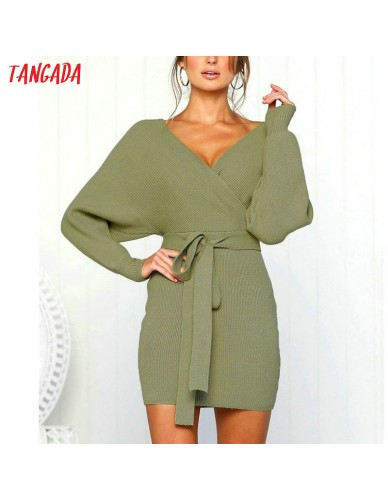 Tangada women dress 2018 knitted mini dress autumn winter ladies sexy green sweater dress long sleeve vintage korean ADY08