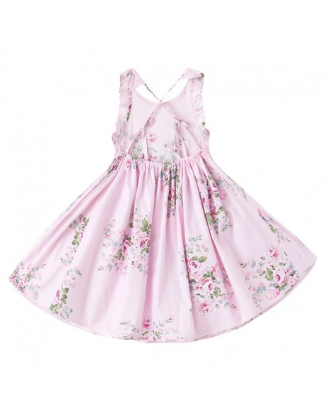 4403b99ba724 2018 Baby Girls Dress Brand Summer Beach Style Floral Print Party Backless  Dresses For Girls Vintage