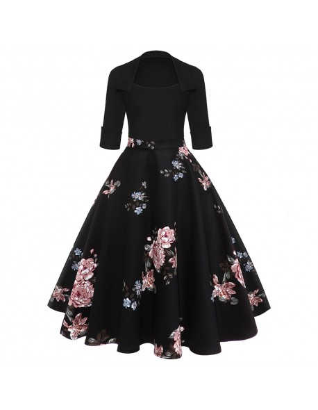 Kenancy Floral Print Women Midi Vintage Flare Dress 3/4 Sleeves High Waist Retro Dress 1960s Audrey Hepburn Rockabilly Vestidos