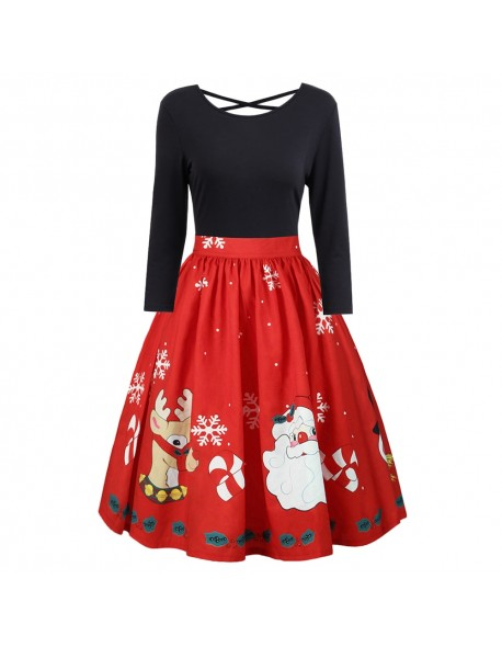 Kenancy Plus Size Print Criss Cross Dress Santa Claus Christmas Deer Print Women Retro Dresses Vintage Feminino Vestidos