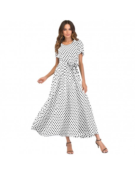 2018 Casual Summer Dress XXXL 4XL 5XL Plus Size Women Long Polka Dot Dress  Short Sleeve View larger da7da2bbc07e