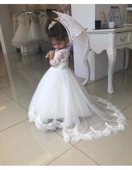 f141da8c0 Vintage beige lace appliques half sleeves ball gown toddler kids holy the  first communion gowns flower