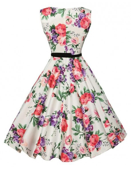 d154b5f3f344a2 Nitree Boatneck Sleeveless Vintage Tea Dress with Belt - Vintage Dress