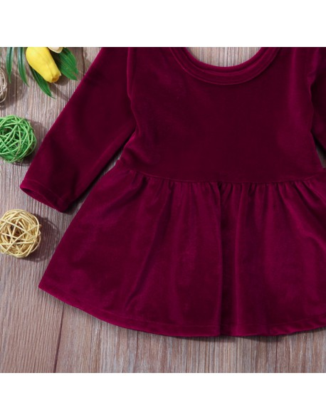 Digood Toddler Baby Kids Girls Long Sleeve Trendy Special Solid Pleuche Outfits Clothes Dress