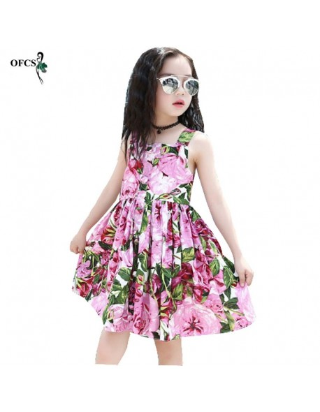 4d209ce5b6 Baby Girls Dress Brand Summer Beach Style Floral Print Party Backless  Dresses For Girls Vintage Toddler