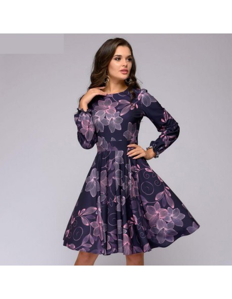 Women printing A-line dress Elegant purple color ruffles long sleeve short dress New autumn winter vintage vestidos
