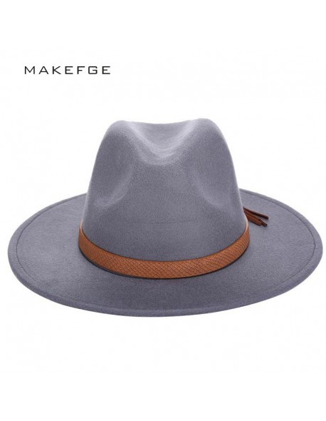 4913bf8436c 2016 Autumn Winter Sun Hat Women Men Fedora Hat Classical Wide Brim Felt  Floppy Cloche Cap