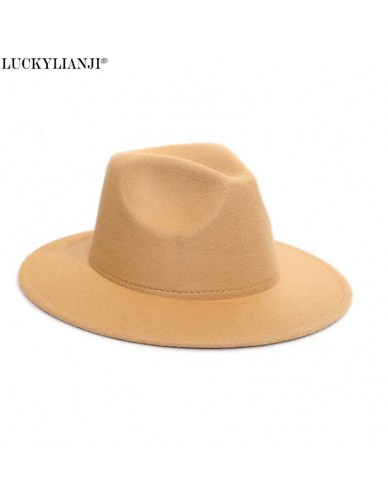 LUCKYLIANJI Retro HQ Wool Felt Kid Child Children Solid Color Panama Fedora Hat Vintage Gangster Cap (Size:54cm,Adjust Rope)