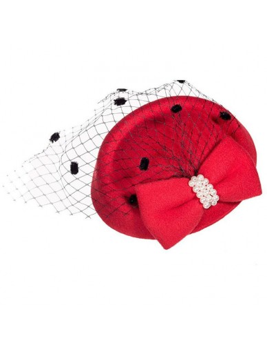 Elegant Fascinators Black Red Weddings Pillbox Hat For Women Straw Fedora Vintage Ladies Church Dress Sinamay Derby Hats