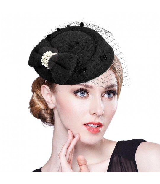 d75d09ac77025 ... Elegant Fascinators Black Red Weddings Pillbox Hat For Women Straw  Fedora Vintage Ladies Church Dress Sinamay ...
