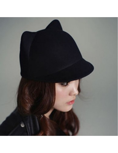 dropshipping Fashion Women Vintage Warm Devil Hat Cute Kitty Cat Ears Winter Wool Derby Bowler Cap Free Shipping