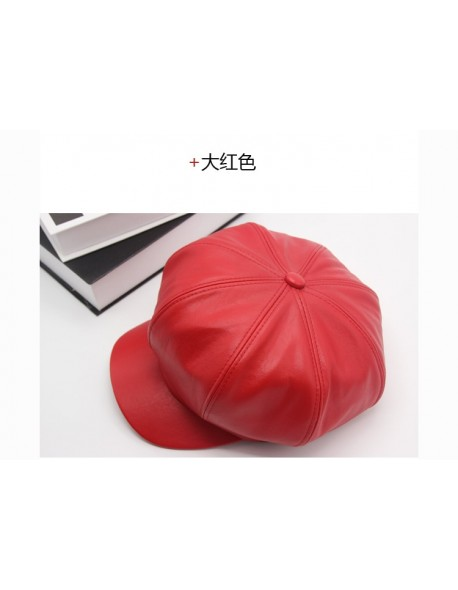 New cute fashion lady hat Newsboy good PU sheep leather flat cap Driving NDN Beret Cabbie Vintage Hat new fashion