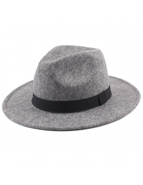 2b22e4ba7a98e 2018 Women s Wide Brim Fedora Hat Men Unisex Felt Trilby Hats Wide Brim  Adjustable Fedora Jazz