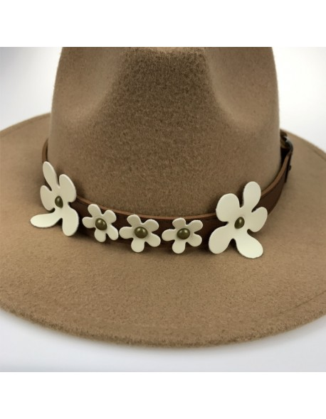 Elegant Flower Belt Felt Caps for Lady Winter Warm Vintage Trilby Hats Autumn Panama Jazz CAP Women Wide Brim Fedoras YY18009