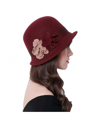 Fashion Elegant Solid Women fedora hat Vintage Wool Felt Hat Asymmetric Hat Brim Style Flowers British Hat Winter Warm Caps