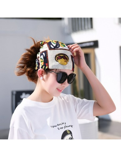 Ladies Girl Vintage Print Hat Autumn Fashion Breathable Ice Silk Bandana For Women Female Headwear Spring Retro Printing Turban